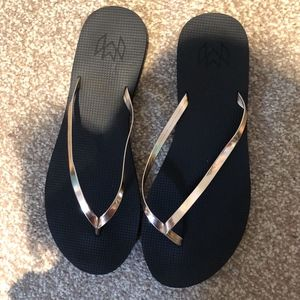 Flip Flops with Gold Straps
